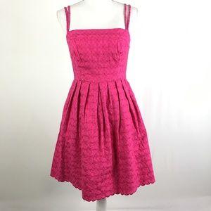 Shoshanna Dress Sleeveless Pink Textured Eyelet